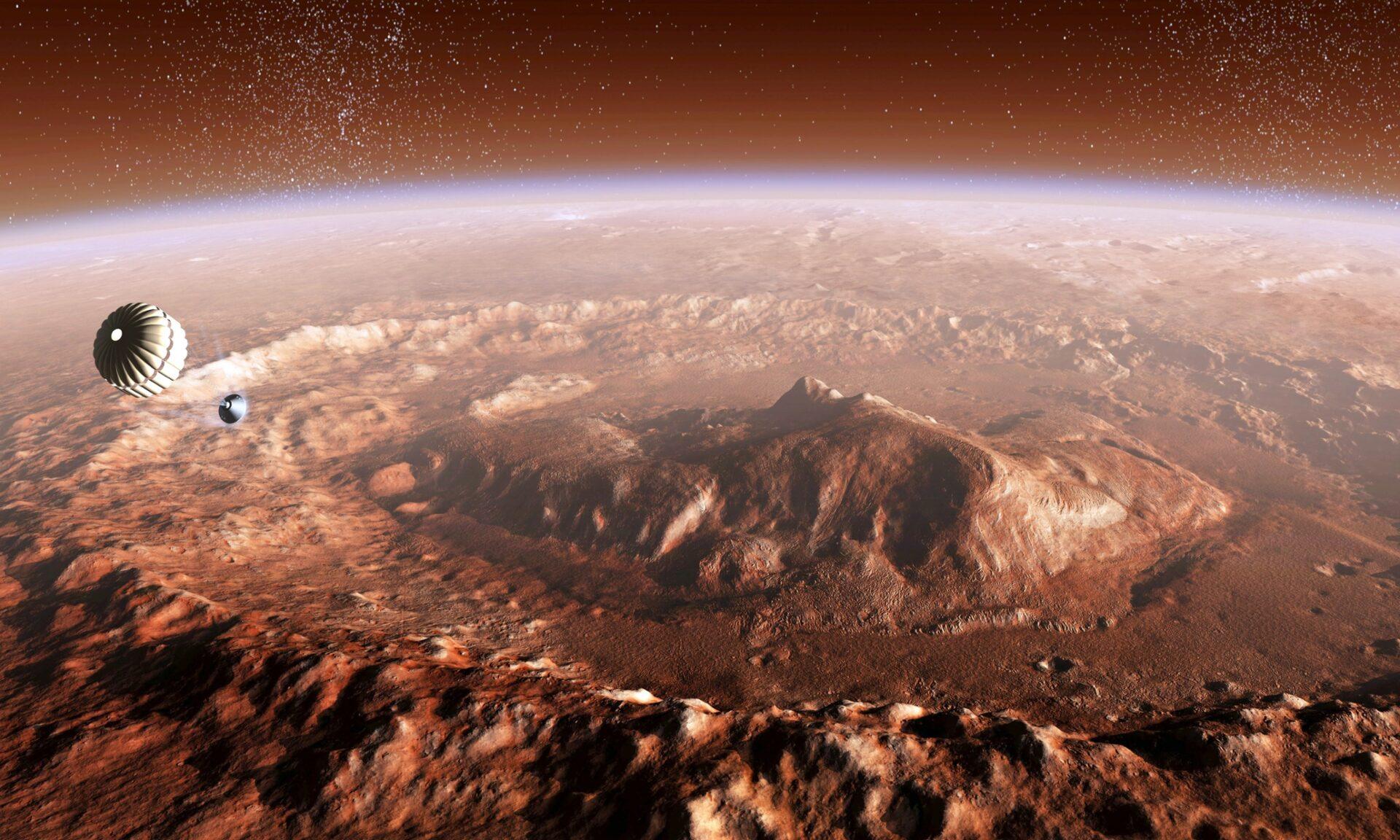 CBM8M4 Curiosity rover descending into Gale Crate on Mars.Stocktrek Images, Inc. / Alamy